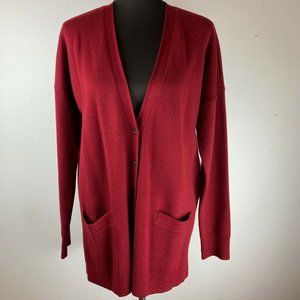 J Crew Boyfriend Cardigan Sweater L Large Red